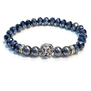 Jewelry - Mens Lion Luxury Bracelet Beads Crystals Handmade